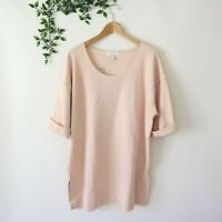 Vtg 90s New Express Tricot Women's Cuffed Oversized Neutral Minimal Tunic Top L