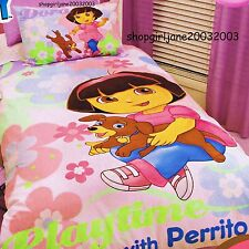 Dora the Explorer Playtime with Perrito Single/Twin Quilt Doona Duvet Cover set