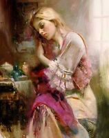 Oil painting female portrait suite-lovel young girl seated Hand painted