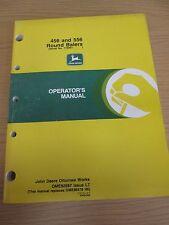JOHN DEERE 456 & 556 ROUND BALERS OPERATORS MANUAL PART NO. OME92587