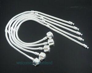 10pcs Snake Chain Silver /P Charm Bracelets Fit European Beads Choose Sizes P01