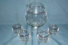 (4) Roly Poly Liqour Glasses With Pitcher Silver Trim