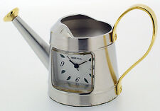 Novelty Miniature Watering Can Clock in Gold Tone on Solid Brass