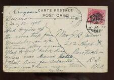 India KEVII Picture Postcard (Burmese Buffalo Cart) 1908 Rangoon Sea-Post Bombay