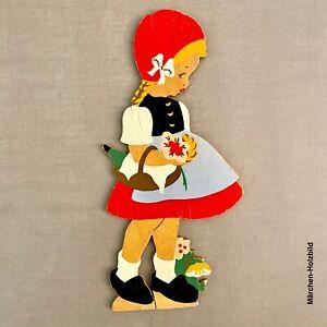 Vintage Märchen Holz Bild: 1960er Mertens-Kunst Rotkäppchen 20cm Dirndl Mädchen