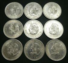 9 (NINE) 1948 MO Mexico Cuauhtemoc Cinco 5 Pesos Silver Coin Uncirculated