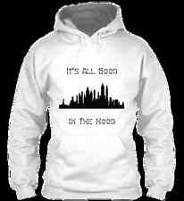 It's All Good In The Hood® New York Hoodie 100% Cotton, Solid White XL L/S