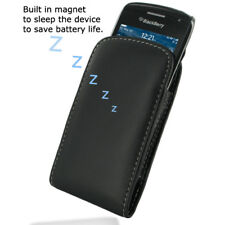 Pdair Black Leather Vertical Pouch Case Cover for Blackberry Curve 9380