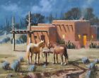 TOM HAAS painting 'Trading Post' oil 11x14 Arizona night community adobe saguaro