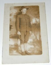 Vintage WWI? RPPC Young American Soldier Army Uniform Real Photo Postcard Named