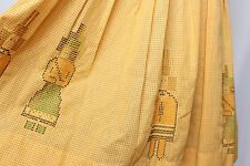 Vtg 50's Yellow Embroidered Needlepoint Gingham Check Novelty People Day Dress