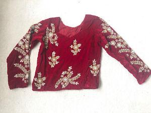 Womens Saree Sari Top Red Velvet Gold