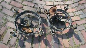 2 Antique Ornate Art Deco Gothic WROUGHT IRON 4 Light Chandelier HAND MADE