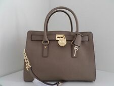 NWT AUTH MICHAEL KORS HAMILTON LARGE E/W SAFFIANO LEATHER SATCHEL-$358-DARK DUNE