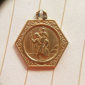 Vintage 9ct GOLD ST. CHRISTOPHER. Georg Jenson Hallmarks (GJLd) - Not Scrap