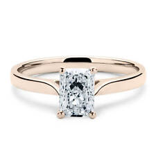 14K Rose Gold 1 Carat Radiant Cut Moissanite 4 Prong Solitaire Engagement Ring