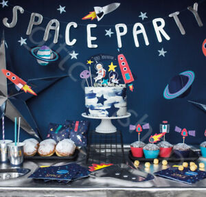 Space Theme Party Decorations Tableware Galaxy Astronaut Boys Birthday Supplies