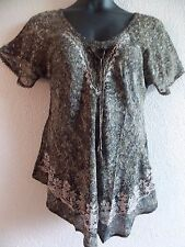 Top Fit XL 1X Plus Tunic Black Gray Batik Tie Neck Lace Sleeve A Shaped NWT G969