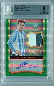 LIONEL MESSI 2015-16 First Year SELECT GREEN PRIZM PATCH AUTO 2/3 BGS 9 AUTO 10