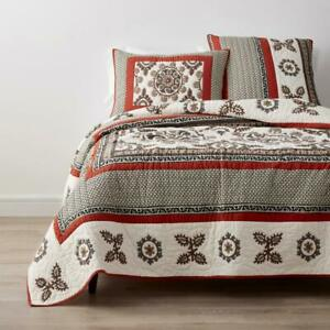 Suzani King Quilt Bedroom Linen Multicolored Geometric Cotton Crewel Embroidered