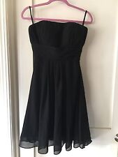 Black Strapless Silk Chiffon Party Bridesmaid Formal Dress