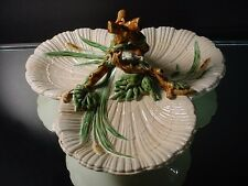 Early Sarreguemines Majolica 3 Shell Twig Handled Horderves Tray w/ Cat Tails