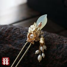 HANDMADE Women Hair Pin Jade Flower Pearl Tassel Chinese Hairpin Stick FREE GIFT