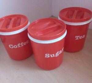 Rare Vintage 80s Mepal Rosti Red Plastic Tea Coffee Sugar Kitchen Jars