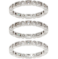 DIAMONIQUE 3.05CT STERLING SET OF 3 ROUND & EMERALD ETERNITY RINGS SIZE 7 QVC