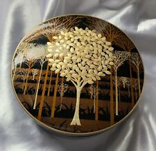 Vintage Otagiri Lacquerware Coasters Set 6 w/ Holder Case Trees Gold Black Brown