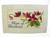 Antique postcard valentine card embroidered silk Cheer Up Sweetheart