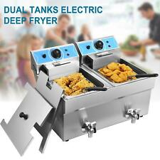 16l Commercial Electric Deep Fryer Fat Chip Twin Dual Tank Stainless Steel 4000w