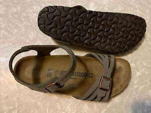 Birkenstock Bali leather hard footbed ankle strap sandals 39 Narrow