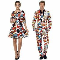 Adult Mens Ladies Comic Book Strip Superhero Stand Out Suit Fancy Dress Costume