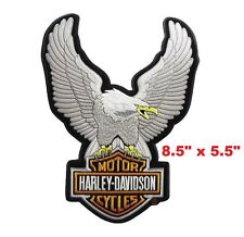 """Harley Davidson Up Wings Silver Eagle Embroidered Iron/Sew-On Large Patch 8.5"""""""