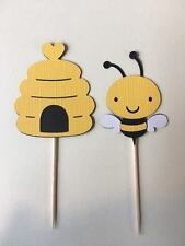 Bees and Bee hive cupcake toppers. Set of 24 Baby shower, birthday party