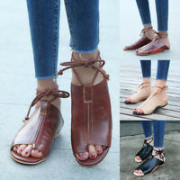 Womens Gladiator Sandals Casual Ankle Strap Lace Up Flats w/ Diamond Beach Shoes