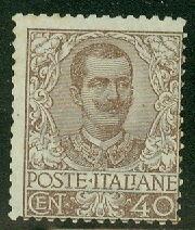 ITALY #83 40c brown, unused no gum, scarce stamp, signed, Scott for Fine $800.00