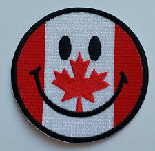 NOVELTY SMILEY FACE SEW ON / IRON ON EMBROIDERED PATCH:- CANADA CANADIAN FLAG