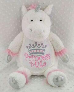 Personalised Unicorn Teddy Bear. New Baby/Birthday/Christening keepsake gift.