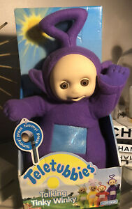 "Vintage 1998 Playskool Teletubbies Talking Tinky Winky 15"" Plush Doll Works"