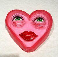 Trinket Ring Dish Jewelry Holder Heart Shape Eyelash Face Clay Tray Handmade