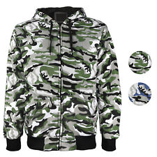 fa7d69cc43f6 vkwear Men s Athletic Soft Sherpa Lined Slim Fit Camo Zip Hoodie Jacket