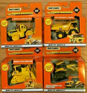 Set of 4 Matchbox Mini Power Machine CAT Caterpillar Friction Powered Toys 1998