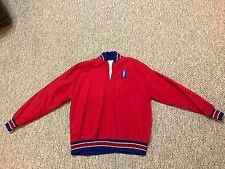 London Parade women's Uda all star varsity Red Pullover 1/4 Zip Jacket (size Xl
