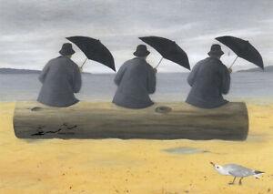 Postkarte: Soizick Meister - Feeling Groovy - Männen grooven am Meer