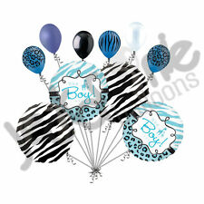 10 pc Baby Boy Jungle Safari Balloon Bouquet Baby Shower Welcome Home Lion Zebra