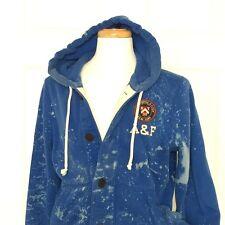 Abercrombie Fitch Hoodie Sweatshirt Men L Bleach Splatter Blue Varsity Cardigan