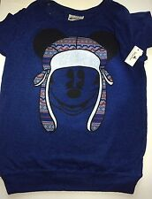 Disney Parks Mickey Mouse Blue Peruvian Style Sweater Winter Sweater New Small S
