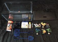 Fish Aquarium Starter Kit, Decor, Filter, Catridges, Food, Nets & More!